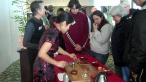 Sampling after the Gongfu Chinese Tea Ceremony at Asian Cultural Festival at Selby Gardens